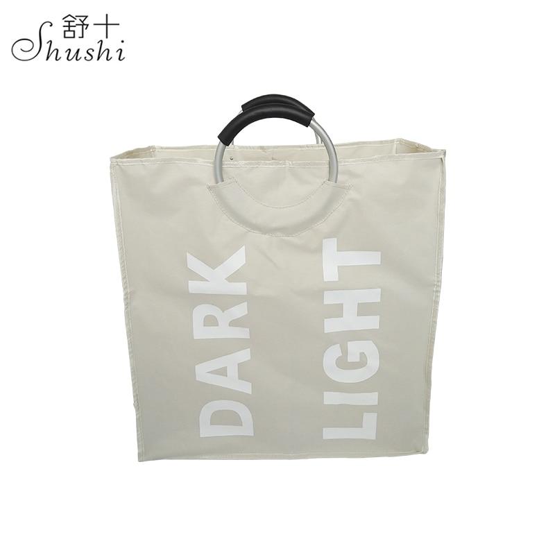 Shushi Skládací dva vývodky vodotěsný sáček na prádlo Reusable Fabric Sáček s potravinami kovová rukojeť domácí skladování Taška na hračky nebo drobnosti