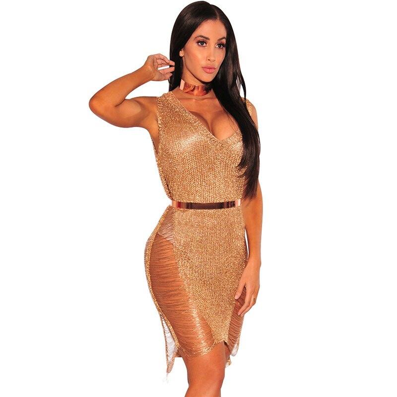 2 Colors Gold Rose Gold Deep V Neck Sexy Dress High Waist Sleeveless Party Dress Backless Transparent Woman Dress