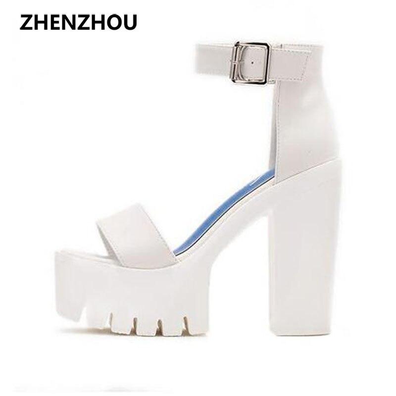 2017 summer brand high heeled fish mouth high platform sandals leather ultra high waterproof Taiwan sexy