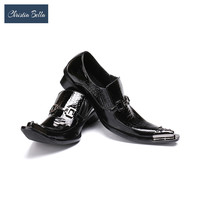 Christia Bella Oxford Shoes Men Dress Shoes British Pointed Toe Genuine Leather Business Office Wedding Barber Shoes Plus Size