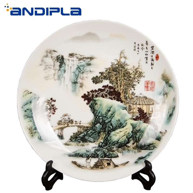 Jingdezhen-assiettes à dîner motif paysage | Céramique, artisanat de porcelaine, décorations de bureau, affichage de plat rond, décoration de la maison de bureau