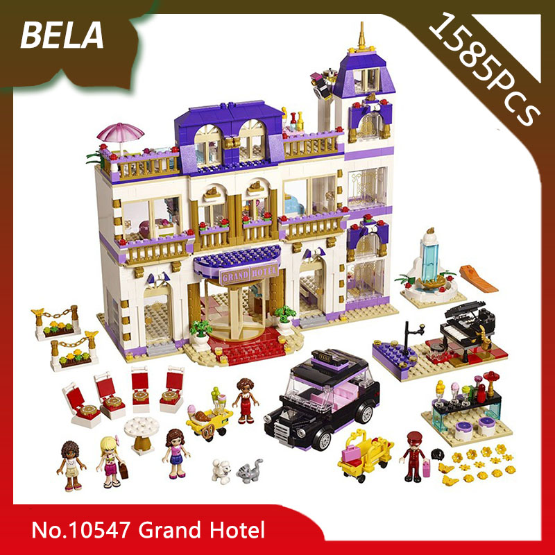Bela 10547 1585pcs Friends Series The Heart lake Grand Hotel Model Building Blocks DIY Model Toys For Kids Gift Compatible 01045 1585pcs friends series heartlake grand hotel 10547 model building bricks blocks emma stephanie toys girls compatible with lego