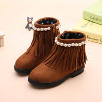 New Warm Girls Shoes With Thicken Cotton Winter Fringe Girls Fashion Boots PU Leater Flat