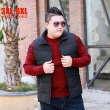 Fashion New 6XL 7XL 8XL Plus Size Winter Vests Men Polyester Casual Loose Big size men's Vest for 85-150kg men Outerwears Coats