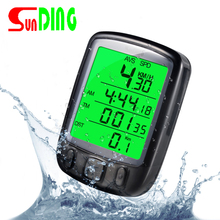 New Style Sunding 2019 SD 563B Waterproof LCD Display Cycling Bike Bicycle Computer Odometer Speedometer with Green Backlight sunding sd 576c sd 576c waterproof large screen mode touch wireless bicycle computer odometer with lcd backlight 2019