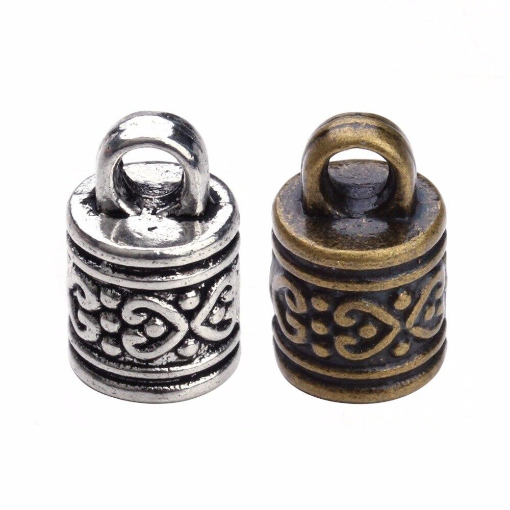 Концевики для медного кожаного шнура под античную бронзу/серебро