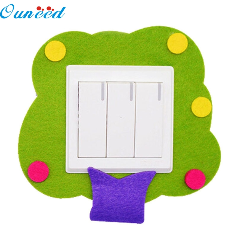 Ouneed Happy Home New Cartoon Felt Not Hurt Wall Free Sticky Green Tree Switch Stickers 1 Piece quality fresh green potted shape removeable wall stickers