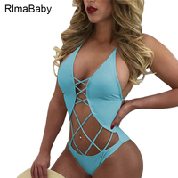 RlmaBaby 2017 Beach Party Hollow Out Backless Bodysuit Sexy V Neck Sleeveless Summer Swimwear Short Rompers Womens Jumpsuit