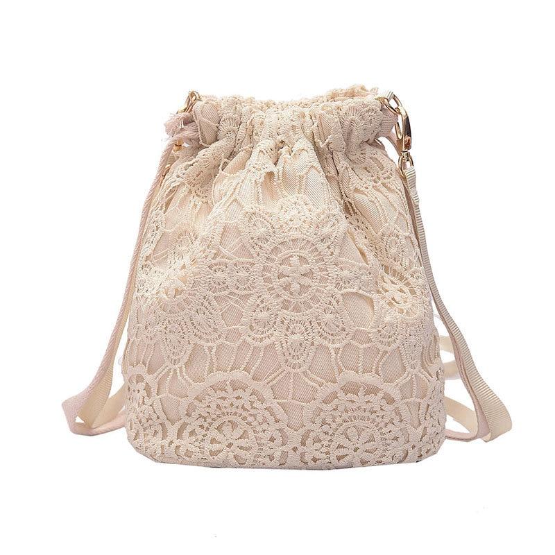 Women Cloth Handbag Small Lightweight Beige Lace Woven Bucket Bag For Ladies Cotton Canvas Tote Shoulder Bags Sac En Coton Beige tahari women s woven dress pant 4p taupe beige