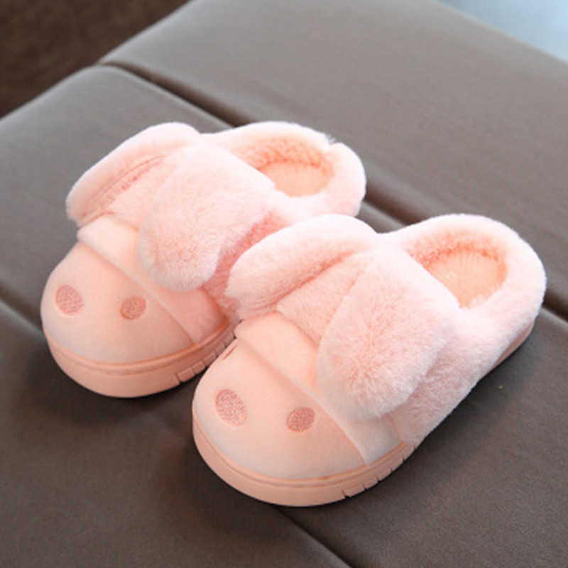 Kids Baby Cotton Home Slippers Shoes Winter Children Boys And Girls Warming Indoor Non-Slip Slippers Cute Velvet Soft Shoes