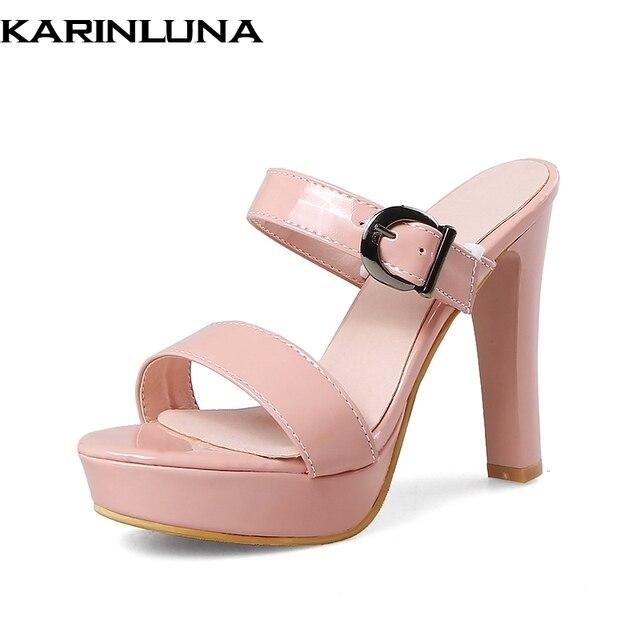 a8c54660 Karinluna tamaño grande 32-43 plataforma por mayor mulas verano bombas zapatos  mujer sexy tacones