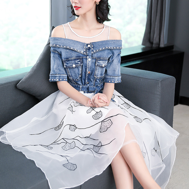 Ladies fashion 18 summer dress women elegant sweet slim O-neck half sleeve irregular Printing organza stitching denim dresses 1