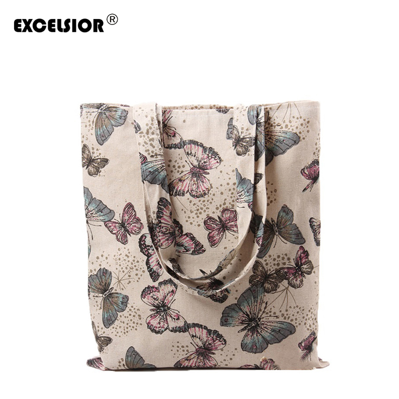 EXCELSIOR 2018 Retro Women Casual Bag Cotton Linen Butterfly Printed Shopping Bags Single Shoulder Handbag Pouch Ladies Tote excelsior women denim tote bag casual blue fabric plain jean top handle teenager slouch shopping shoulder crossbody bag eco