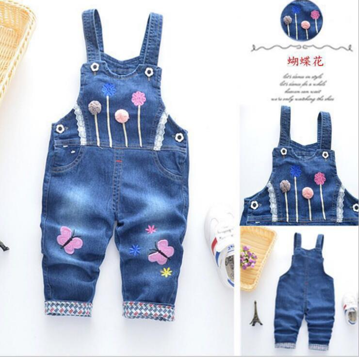 Spring Autu kids overall jeans clothes newborn baby denim overalls jumpsuits for toddler/infant girls bib pants(China)