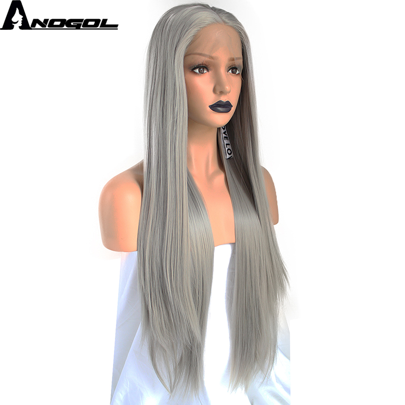 Anogol High Temperature Fiber Perruque Peruca 360 Frontal Sliver Grey Long Straight Synthetic Lace Front Wig
