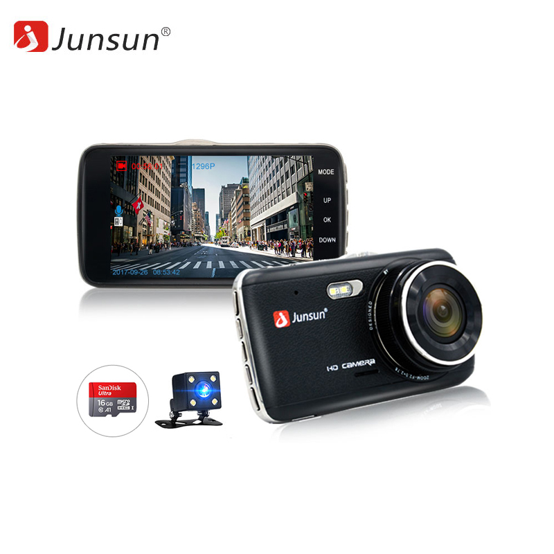 Dash camera Junsun H7.16GB 1080p car dash camera dvr with dual lens 4 screen
