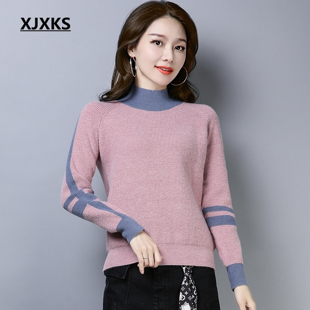 XJXKS Pulover Women 2018 New Autumn And Winter Cashmere Sweater Women s  Slouchy Thick Sweater Turtleneck Knit Bottoming Shirt ae09a837c