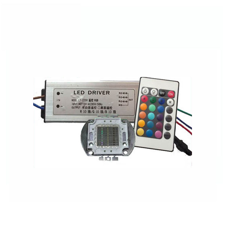 1X high power integrated RGB LED 10w 30w 50w 60w with driver and IR Remote Controller free shipping