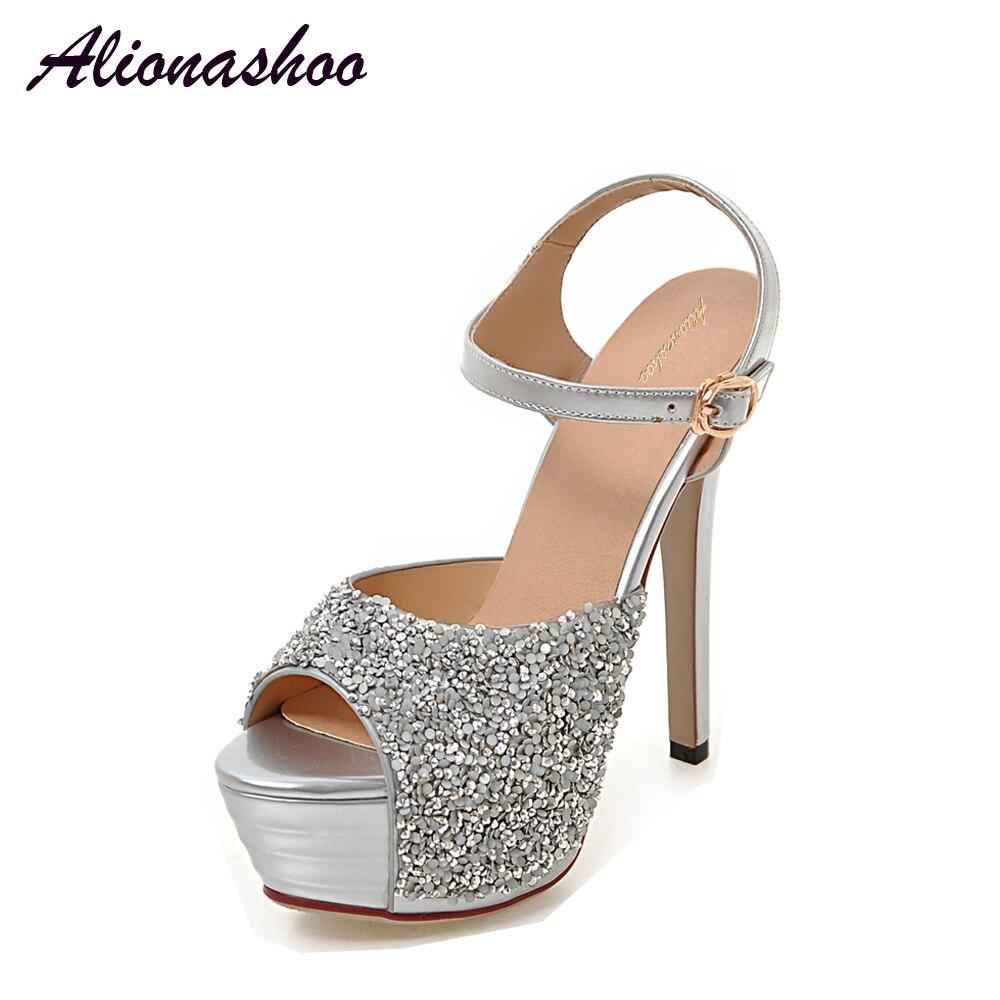 Wedding Silver Heels: Alionashoo 2018 Women High Heels Prom Wedding Shoes Lady