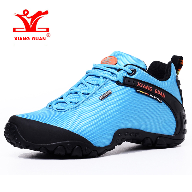 2017 XIANG GUAN Large Size Womens Breathable Hiking Shoes Outdoor Climbing Shoes Sports Shoes Red Blue Black Free Shipping 81283 2017 mens hiking shoes breathable rock climbing camping outdoor sports shoes for men army green black free shipping c101