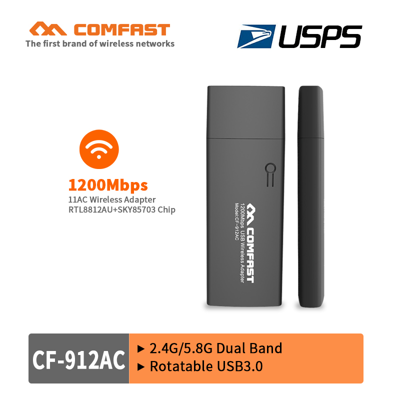 COMFAST 802.11 AC 1200M 2.4G/5.8G Dual Band USB 3.0 Wireless Wifi Adapter Network Card with WPS Button ac wifi adapter USPS free