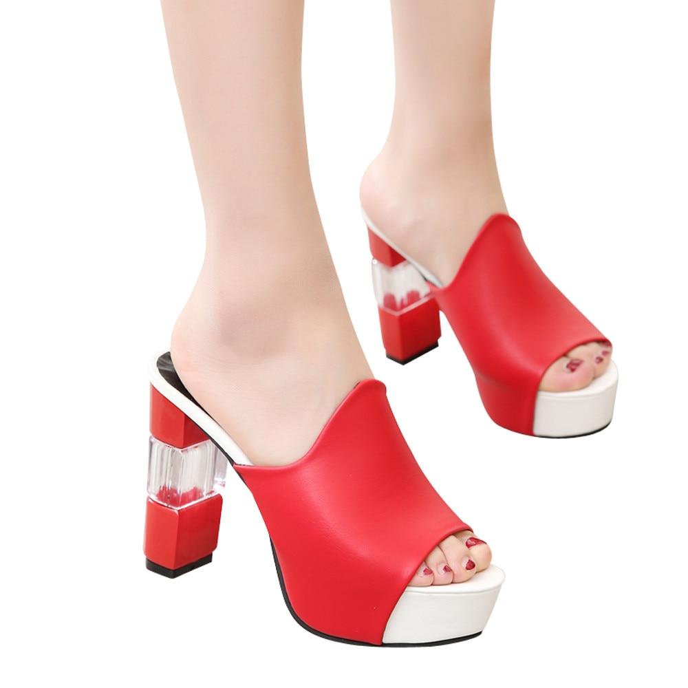 2019 Spessore rosso Cuneo Open Sandali Nero Z0108 Donna Inferiore bianco Di Fashion Toe Il Alto Nuovo Estate Pantofole Tacco qrwRTpq4