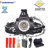 40000LM Headlamp XHP70 LED Headlight 40W Head lamp Rechargeable Forehead Flashlight Torch with USB Rechargeable 3*18650 Battery