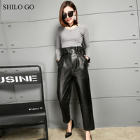 SHILO GO Leather pants Womens Spring Fashion sheepskin genuine leather pants ruffles high waist office lady metal belt casual