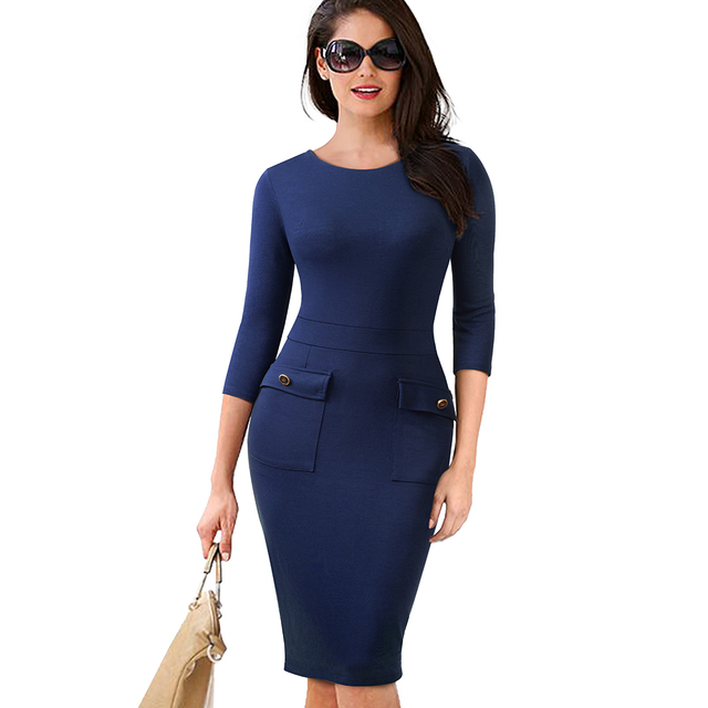 Autumn Female Buttons Solid Color Slim Office Work Dress Classic Women O-Neck Casual Business Pencil Dress EB465 1