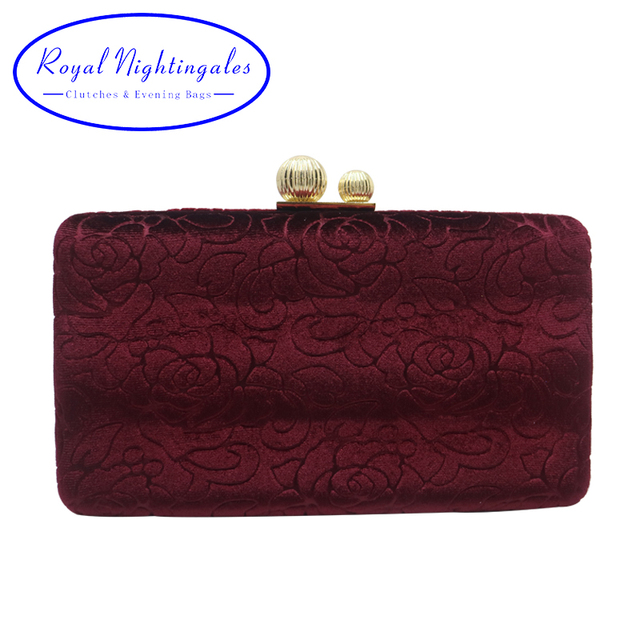 d9ce5acc2d Royal Nightingales Velvet Hard Case Box Clutch Evening Bags and Handbags  for Women Ball Party Prom Red Black Clutches