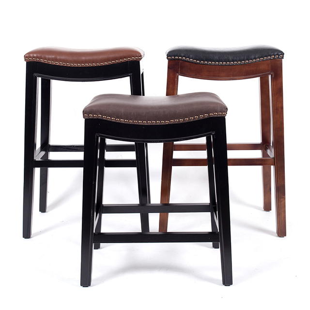 Wooden Bar Stool Chair Leather Cushions Seat American