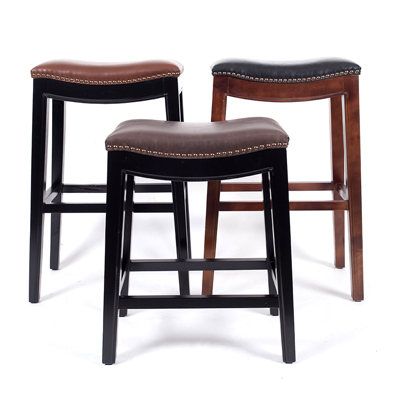 Wooden Bar Stool Chair Leather Cushions Seat American Style Country Design Bar Furniture Cafe Bar Stool Frame Solid Wood Inch