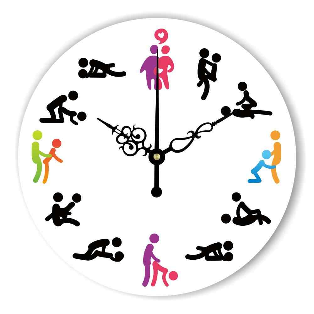 Modern Design Sex Position Mute Wall Clock For Bedroom
