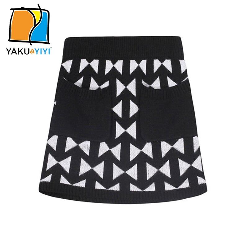 Ykyy yakuyiyi שחור לבן צבע בלוק בנות חצאית מותן אלסטיות חצאית תינוקת בגדי בנות חצאית ילדי תבנית משולש