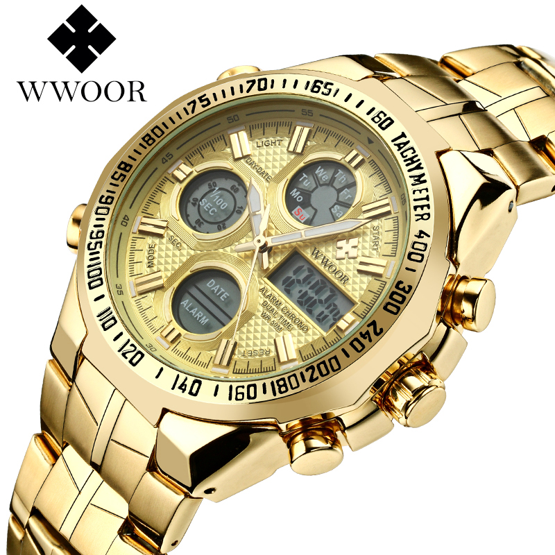 WWOOR 2018 New Luxury Brand Dual Time Clock Fashion Full Stainless Steel Men's Watches Army Male Sports Wrist watch Waterproof splendid brand new boys girls students time clock electronic digital lcd wrist sport watch