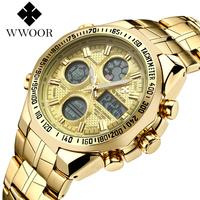 WWOOR 2018 New Luxury Brand   Dual   Time Clock Fashion Full Stainless Steel Men's   Watches   Army Male Sports Wrist   watch   Waterproof