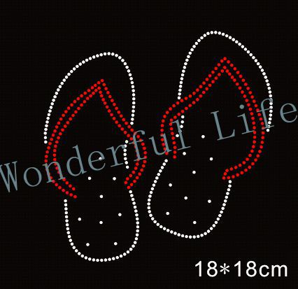 Free Shipping lot bling stone crystal hotfix rhinestones motif heat transfer  design iron on slipper for clothes 64f0b4ebe74c