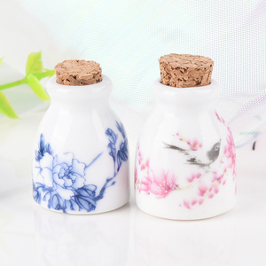 Image 4 - DIY Nail Art Tools Peony/Magpie Mini Ceramic Glass Dappen Dish Bowl Cup With Wood Lid Acrylic Liquid Glitter Powder Bottle
