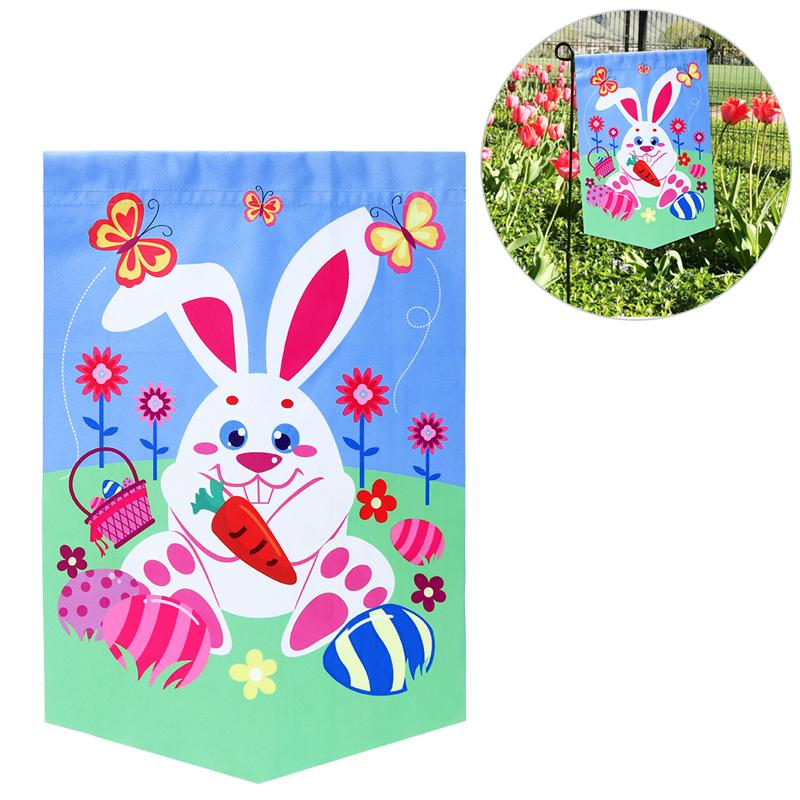 BESTOYARD Double Side Printed Garden Flag With Rabbit And Easter Eggs Pattern DIY Garden Flag For Easter Festival Party Decor