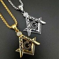 Gold Color Stainless Steel Masonic Symbol Freemason Free Mason G Pendants Necklaces Religion Jewelry Men's 20 27 Rolo CHAIN