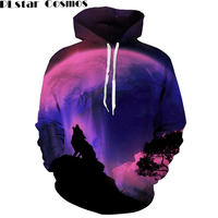 PLstar Cosmos Galaxy Wolf 3D Hoodies Men Women Winter Autumn Style Sweatshirt Print Animal Hoody Outfits
