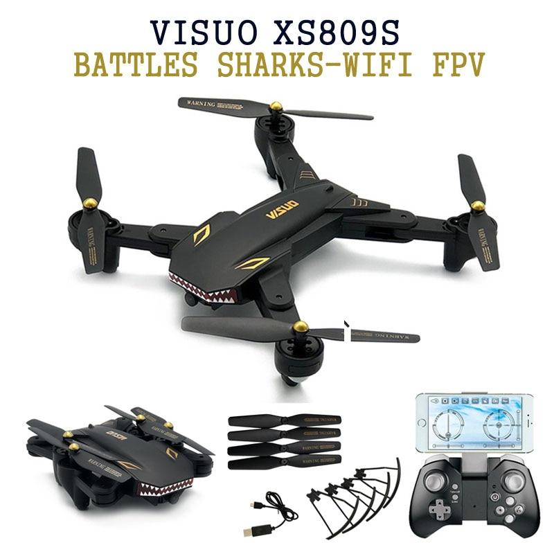 VISUO XS809S BATTAGLIE SHARKS 720 P 0.3MP/2MP WIFI FPV W/Wide angolo di HD Macchina Fotografica Pieghevole RC Quadcopter RTF VS XS809HW Telefono controllo