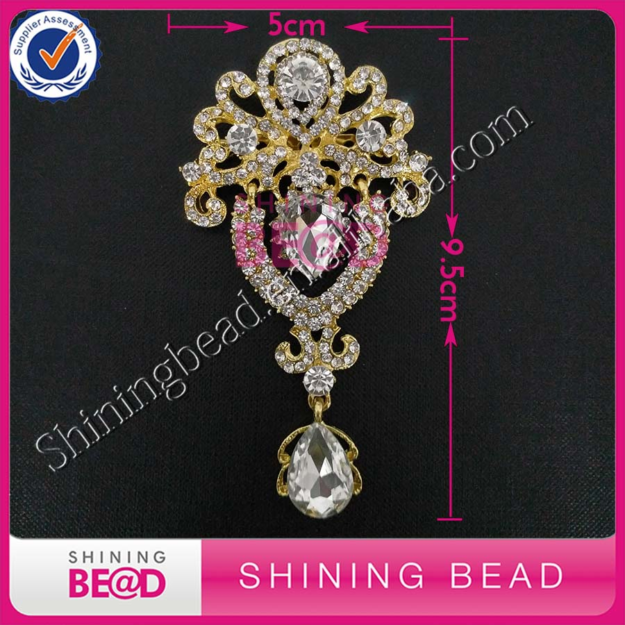Free Shipping,Gold Crystal Glass Bead Rhinestone Brooch Pins For Wedding Bouqute,Dress,Party Decoration,50Pieces/lot