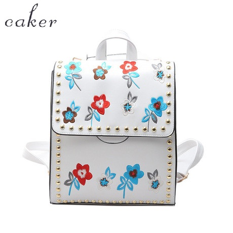 Caker Brand 2017 Women Embroidery Flower PU Backpack Preppy Style School For Teenagers Rivet High Quality
