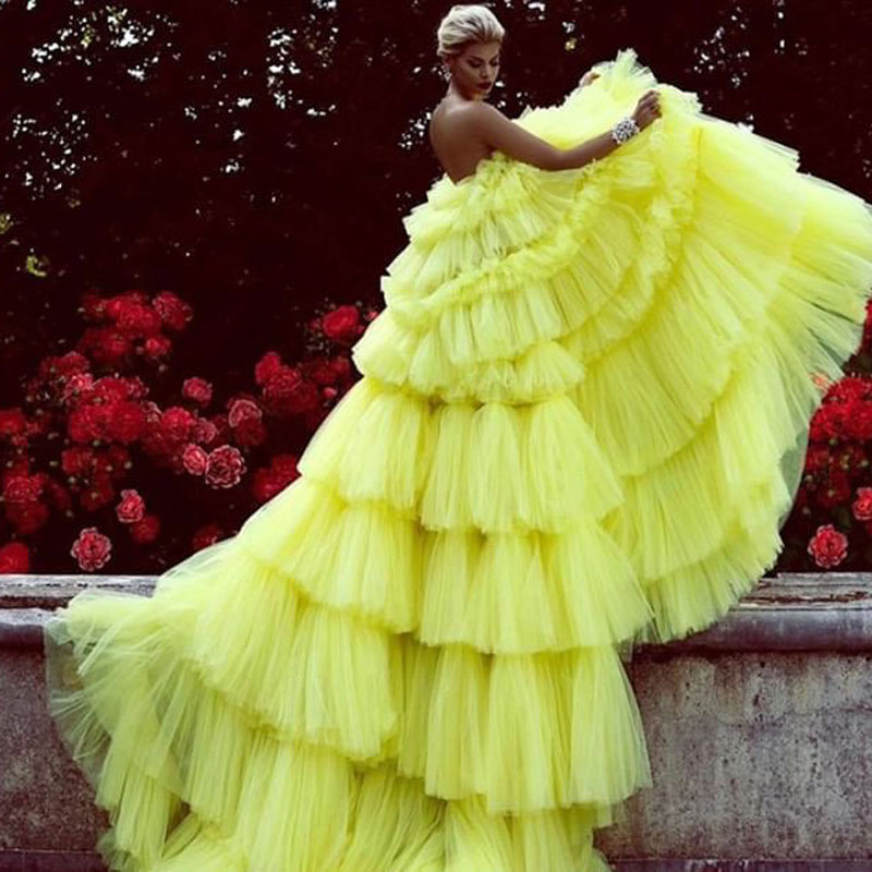 Amazing Layered Tulle Ball Gown   Prom     Dresses   2019 Bright Yellow Tiered Chic Evening   Dress   Long Gown Abendkleider Robe de soiree