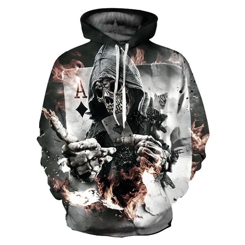 Cloudstyle 2018 3D Skull Hoodies Men Women Grim Reaper Poker 3D Print Harajuku New Hoody Sweatshirt Pullover Top Plus Size 5XL