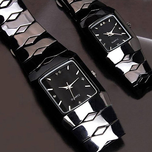 Full Stainless Steel Black Luxury Classic Couple Watches Quartz Wrist Watch New Design 5D7D 6UFT