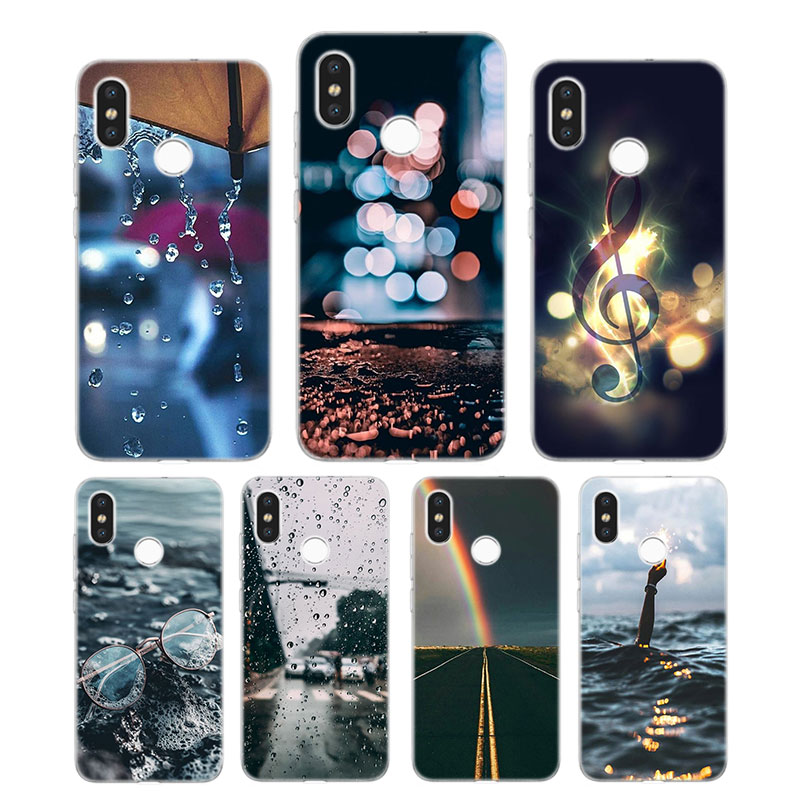 Silicone Case rainy days Printing for Xiaomi Mi 6 8 9 SE A1 5X A2 6X Mix 3 Play F1 Pro 8 Lite Cover in Fitted Cases from Cellphones Telecommunications