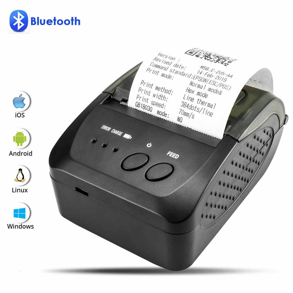 NETUM 80mm Bluetooth แบบพกพา 58mm Bill สำหรับ Android IOS IPhone iPad ESC/POS TERMINAL NT-1809DD