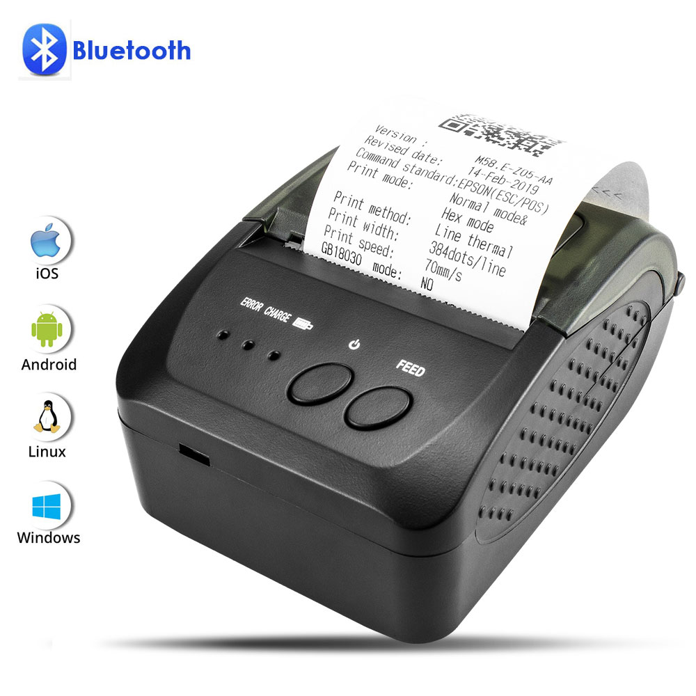 NETUM 80mm Bluetooth Thermal Receipt Printer Portable 58mm Bill Printer For Android IOS Iphone Ipad ESC/POS Terminal NT-1809DD